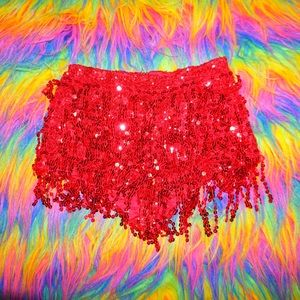 Pants - Red Sequin Fringe Shimmy *NEW* Booty Shorts💋